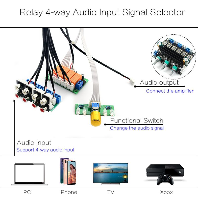 shareconn relay 4 way audio input signal selector switching rca audio input  selection board of rotary switching for amplifiers-in amplifier from  consumer