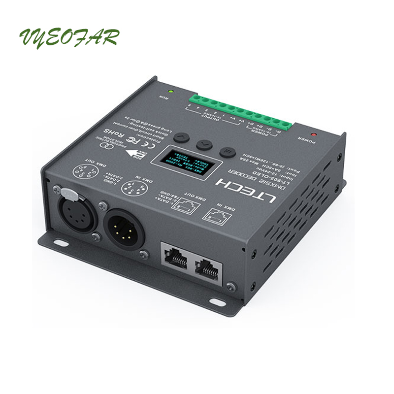 Led DMX512 Decoder Controller;DC12-24V input;5A*5CH Max 25A 600W output RGB/RGBW Strip Led Controller XLR-3 / RJ45 LT-905-OLED t1000s sd card led controller pixel controller for ws2812 b2812b dmx512 ws2811 ws2801 lpd8806 apa102 rgb controller