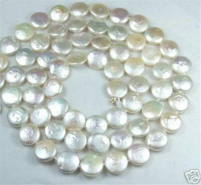 12 MM Blanco Moneda Real de la Perla Natural de La Joyería Collar Magnífico 18 inch AA