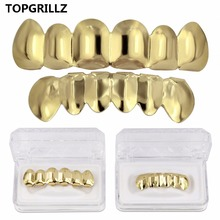 TOPGRILLZ Gold Silver Plated HIP HOP Teeth Grillz Top& Bootom Groll Set With silicone Vampire teeth Best Gift ForChristmas
