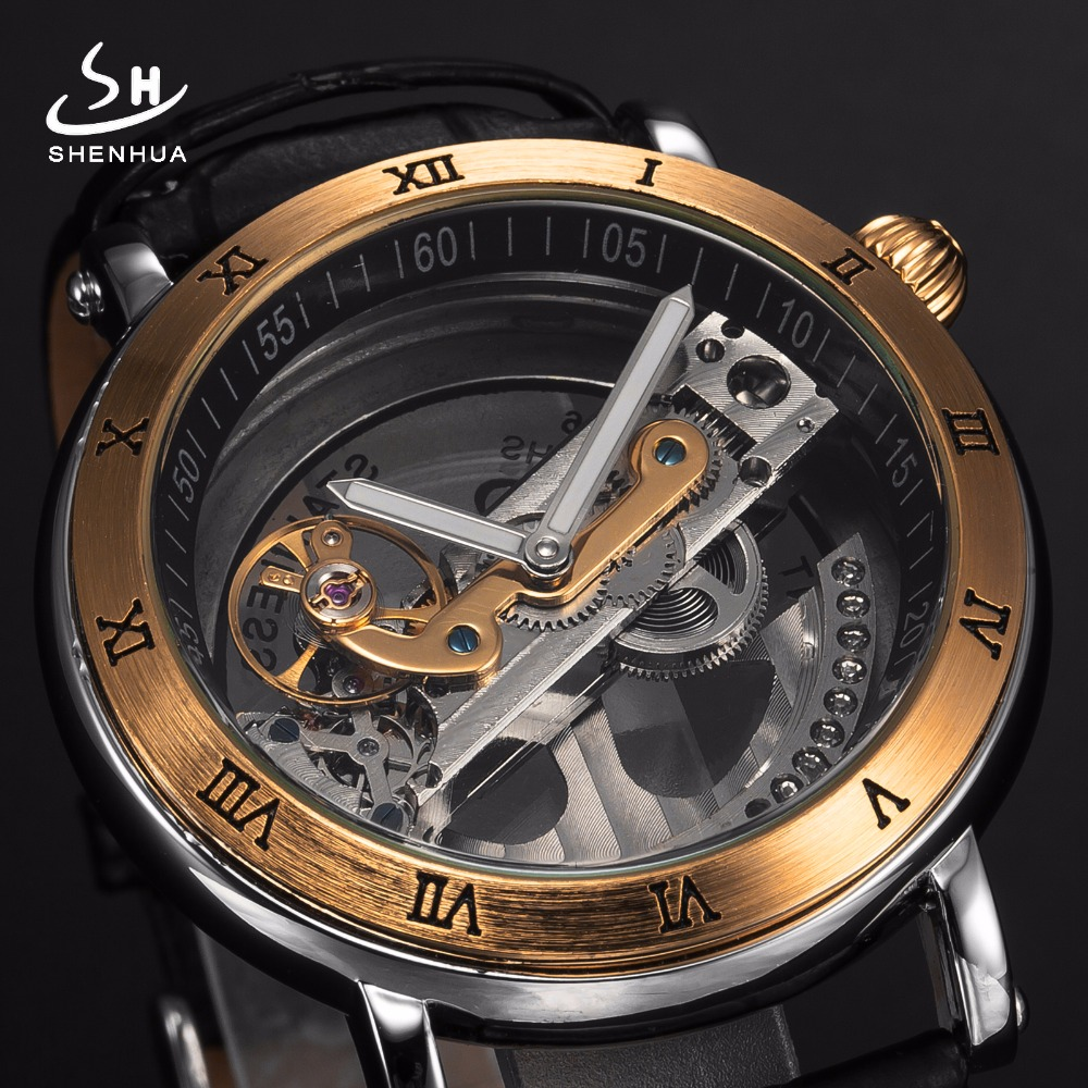 Mens Automatic Mechanical Watches Top Brand Luxury Watch Men Skeleton Transparent Automatic Self Wind Black Leather Wrist Watch tevise men black stainless steel automatic mechanical watch luminous analog mens skeleton watches top brand luxury 9008g