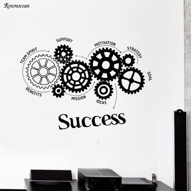 Motivation Words Vinyl Wall Decal Teamwork Success Gears Office Art Decor Sticker Mural Removable Stickers
