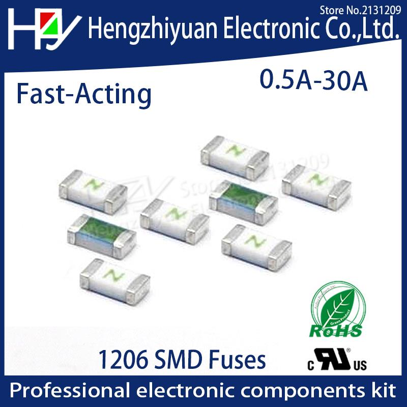 A One Time Positive Disconnect SMD Restore Fuse 1206 0.5A 1A 1.5A 2A 2.5A 3A 3.5A 4A 5A 6A 7A 8A 10A 12A 15A 20A 30A Fast Acting 10pcs 1808 3a smd fuse 3a
