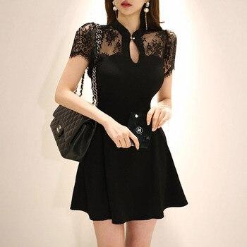 Summer Plus Size A-line Dress 2020 Women Black Short Sleeve Stand Elegant Office Mini Dress Vintage Lace Short Dresses Vestidos plus size short sleeve lace shift dress