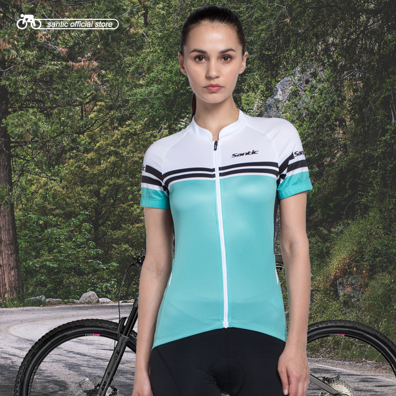 Santic Women Short Cycling Jersey Breathable Body-building Fitness Short Sleeves MTB Bike Bicycling Short T-shirts LC02062