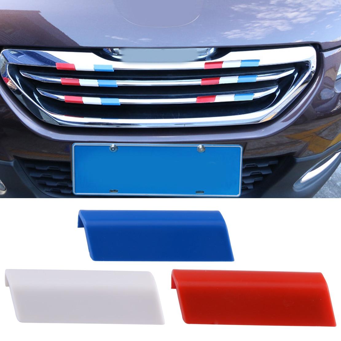 3Pcs Car Front Grille Grill Cover Trim France Flag Color Plastic Fit for Peugeot 301 4008 308 408 grille