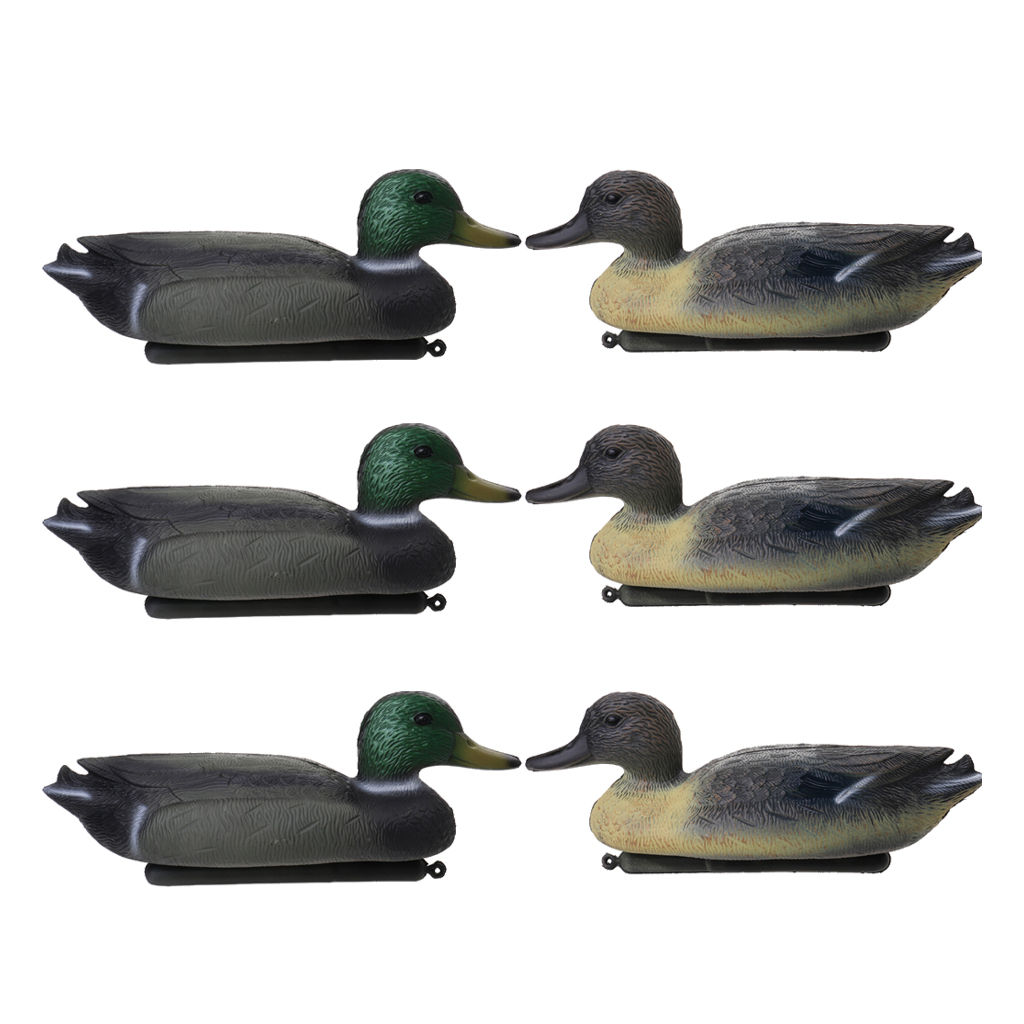 6 Pcs 3D Lifelike Duck Decoy Floating Lure W/ Keel  PE Duck Hunting Decoy For Outdoor Hunting Fishing Attracting Ducks