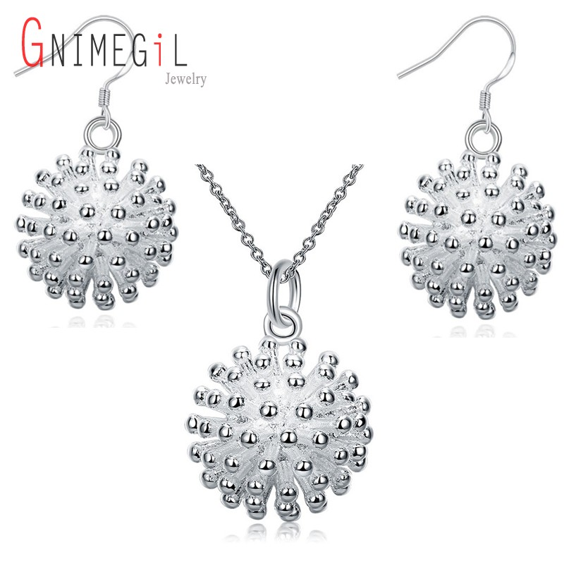 New Fashion Elegant Bridal Jewelry Sets Flower Pendant Fireworks Necklace Drop Earrings For Party Women Wedding Jewelry
