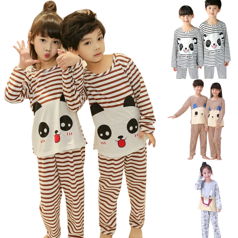 Boys Girls Cartoon   Pajamas     Set   Kids Sleepwear Long Sleeve Autumn Winter Homewear