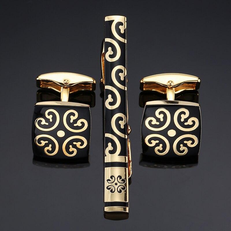 Новый тип Нержавеющаясталь зажимы для галстуков и запонки Набор для Для Мужчинs Jewelry золотой узор покрытие металл галстук бар застежка зол...