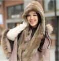 GTC153 2014 inverno quente meninas encantadoras real knitting rabbit fur com capuz cachecol xales wraps com capuz mulheres gorro de pele verdadeira chapéu