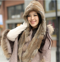 GTC153 2014 winter warm lovely girls real knitting rabbit fur hooded scarf shawls wraps with hood women real fur cap hat