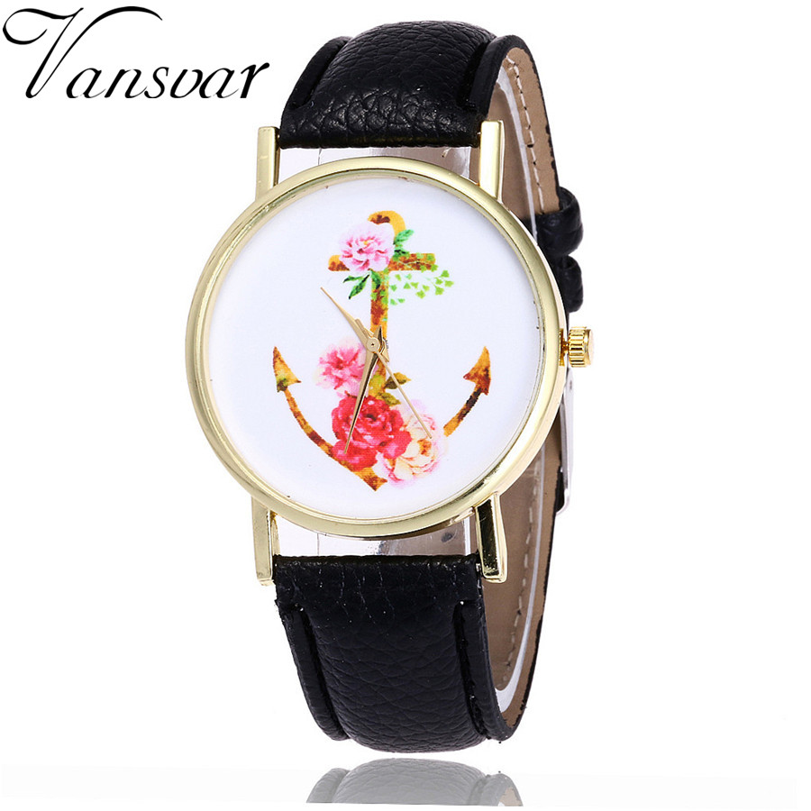 Vansvar Brand Fashion Floral Anchor Watch Casual Women Wrist Watches Vintage Unique Leather Quarzt Watches Relogio Feminino V24