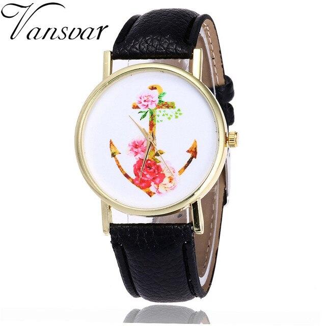 7405bfb0285 Vansvar Marca Moda Floral Âncora Relógio Casual Relógios de Pulso Das  Mulheres Do Vintage De Couro