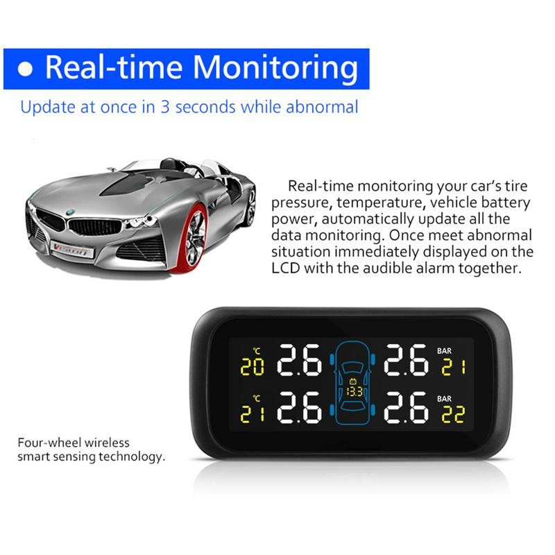 Universal Multifunction Car TPMS Tire Pressure Color Display Car Cigarette Lighter Car Tire Pressure Monitor High Accurate TPMS in Tire Pressure Alarm from Automobiles Motorcycles
