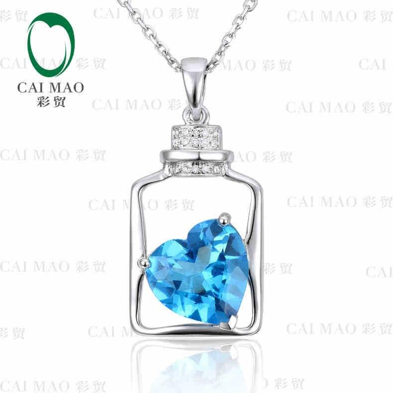 18KT/750 White Gold 3.83 ct Natural IF Blue Topaz & 0.05 ct Full Cut Diamond Engagement Gemstone Pendant Jewelry
