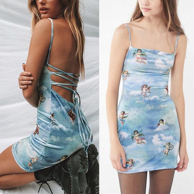 Sleeveless Casual Spaghetti Strap Mini Dress 2019 Summer Women Angel Print Slash Neck Bandage Dress Elegant Short Party Dress