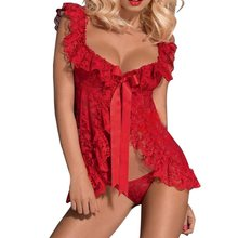 81f22bae67728 White Black Red Lace Babydoll Women Sexy Lingerie Front Open Nighty Chemise  Sleepwear Pajamas Set(