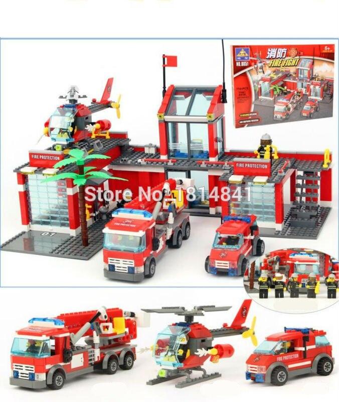 ФОТО KAZI 774pcs Large Fire Station City Fire Helicopter Brick Fireman Toy Building Block