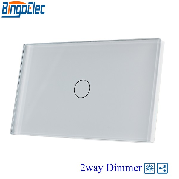 AU/US Standard Bingoelec 1gang 2way Dimmer Sensor Wall Switch White Glass ,Dimmable Light Touch Switch, 110-220V, us au standard lamps dimmer remote switch 1gang1way white crystal glass panel wall remote light dimmer touch sensor switches