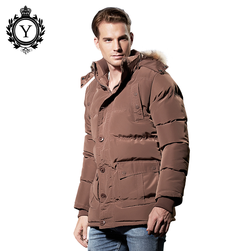 ФОТО COUTUDI 2017 Winter Military Style Parkas Men Smart Brown Outwear Casual Down Jacket With Fur Hood Thicken Hat Detachable Coat