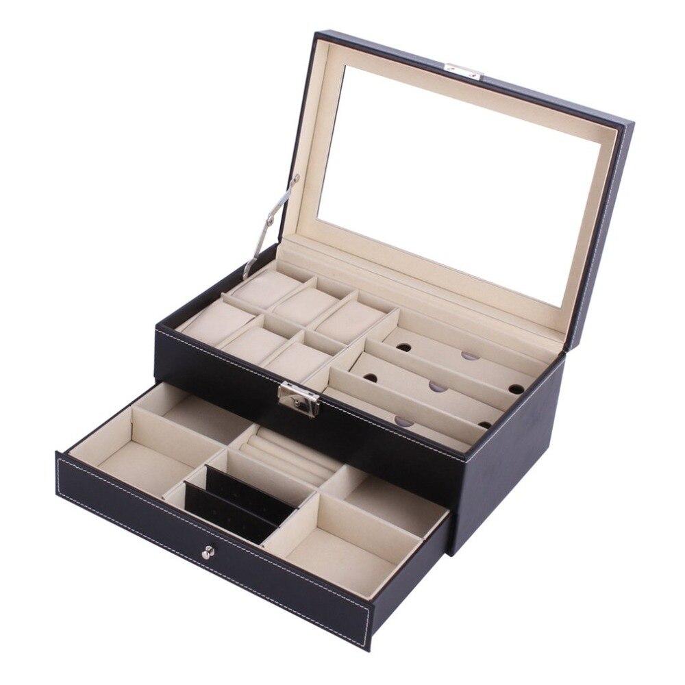 Multifonctionnel Double couches en bois bijoux montre boîte de rangement lunettes de soleil montre affichage fente conteneur de caisses