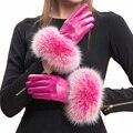 2016 mujeres nuevo espectáculo vestido otoño invierno llegó de alto grado la moda de cuero suave caliente gruesa guantes de piel de zorro auténtico corea mitones