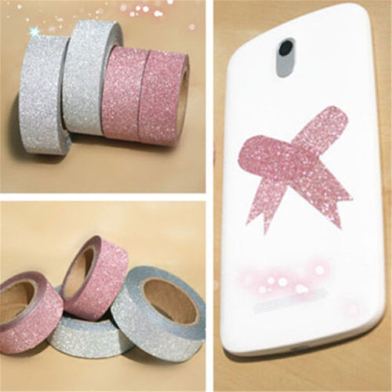 5m Craft Glitter Washi Tape Book Decoration DIY Adhesive Paper Scrapbook Sticker