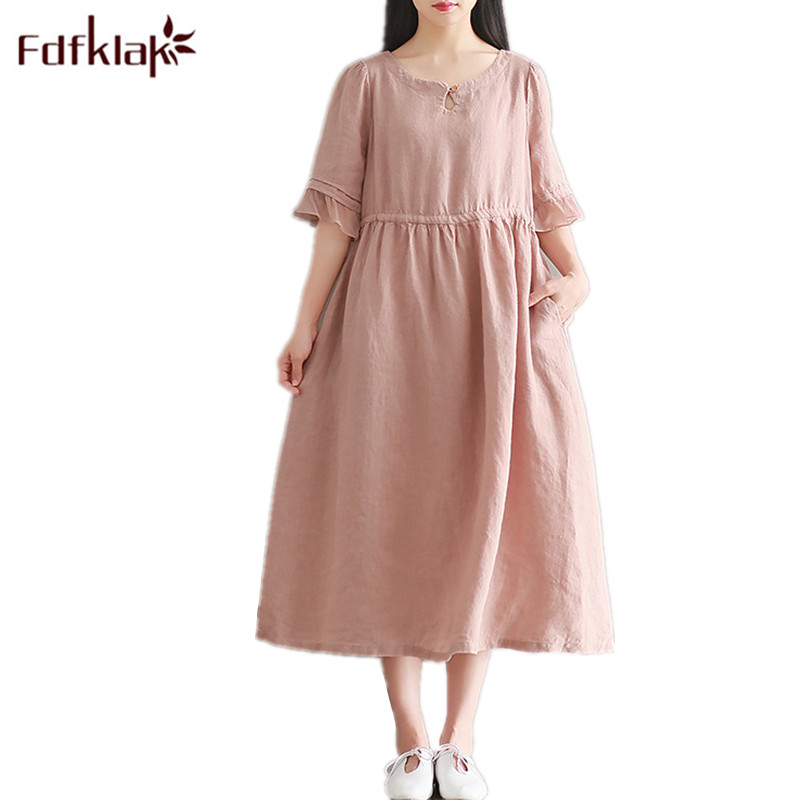 Fdfklak M-XXL Large Size Maternity Dresses 2018 Summer Pregnancy Fashion Dress Woman Pregnant Pink Casual Maternity Clothes F93