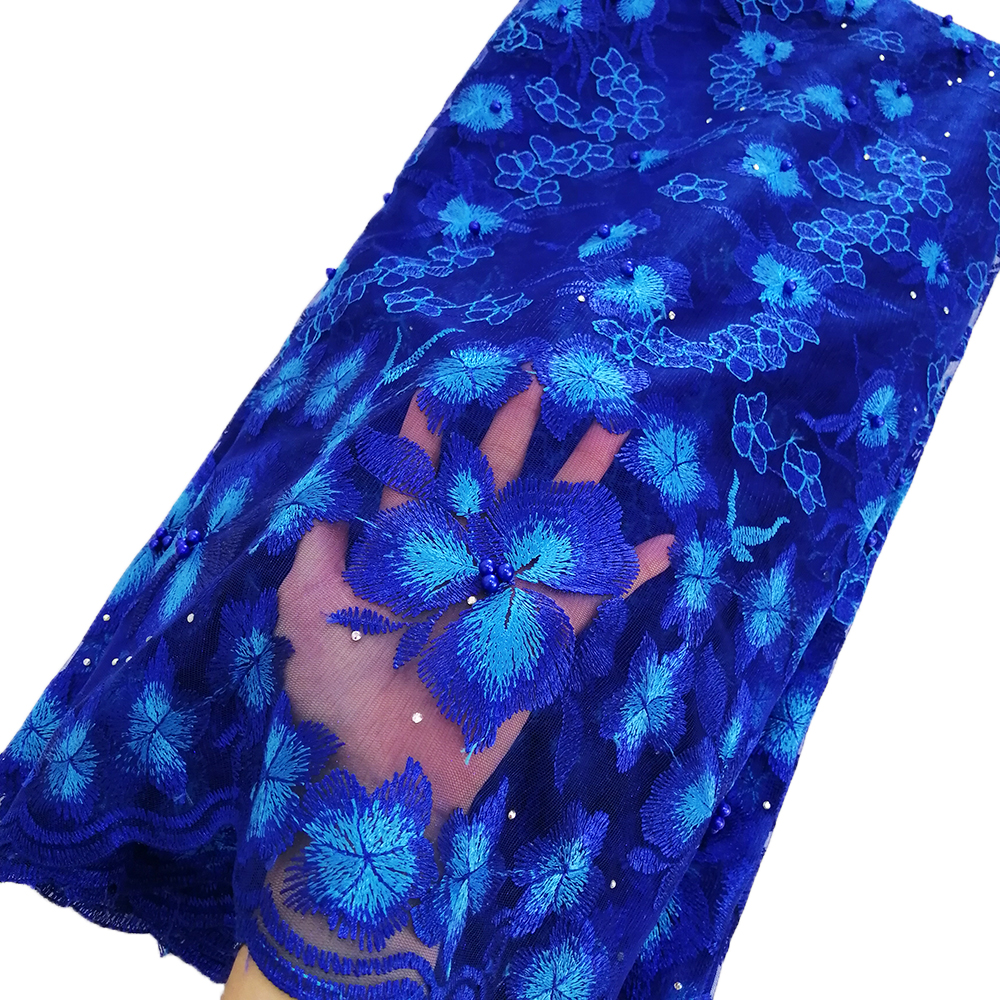 Newest african lace fabric high quality mesh embroidery fabric beaded royal blue lace fabric for nigerian wedding dressesNewest african lace fabric high quality mesh embroidery fabric beaded royal blue lace fabric for nigerian wedding dresses