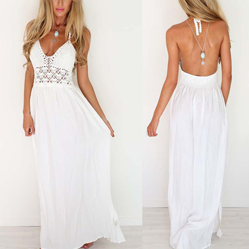 buy white maxi dress summer 2018 floral strapless sexy ladies backless boho. Black Bedroom Furniture Sets. Home Design Ideas