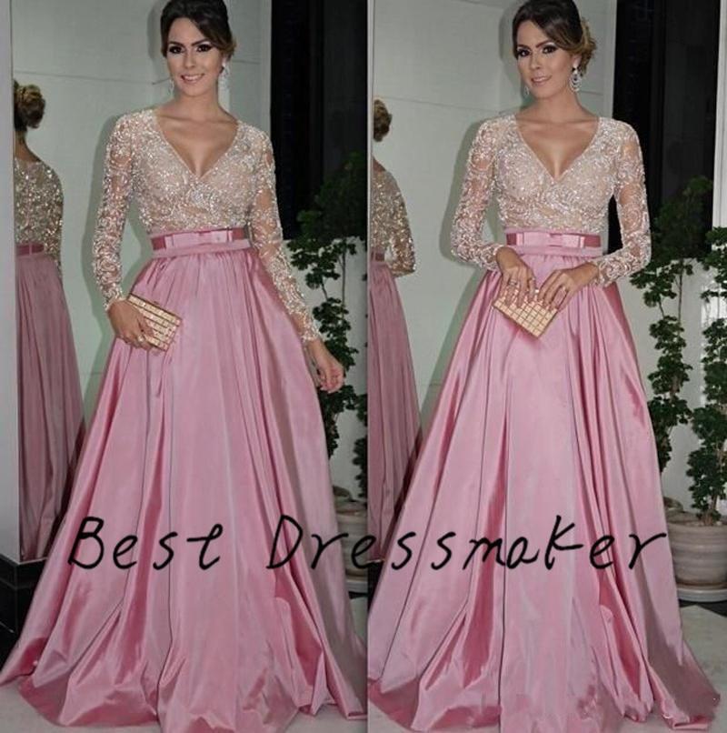 Rosa Viejo Abaya En Dubai Kaftan Vestido De Noche V Cuello