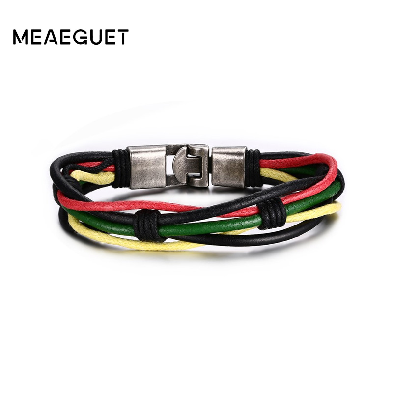 Meaeguet Trendy Colorful Street Style Braided Rope Chain Bracelet Men Multi-layered Genuine Leather Bracelet