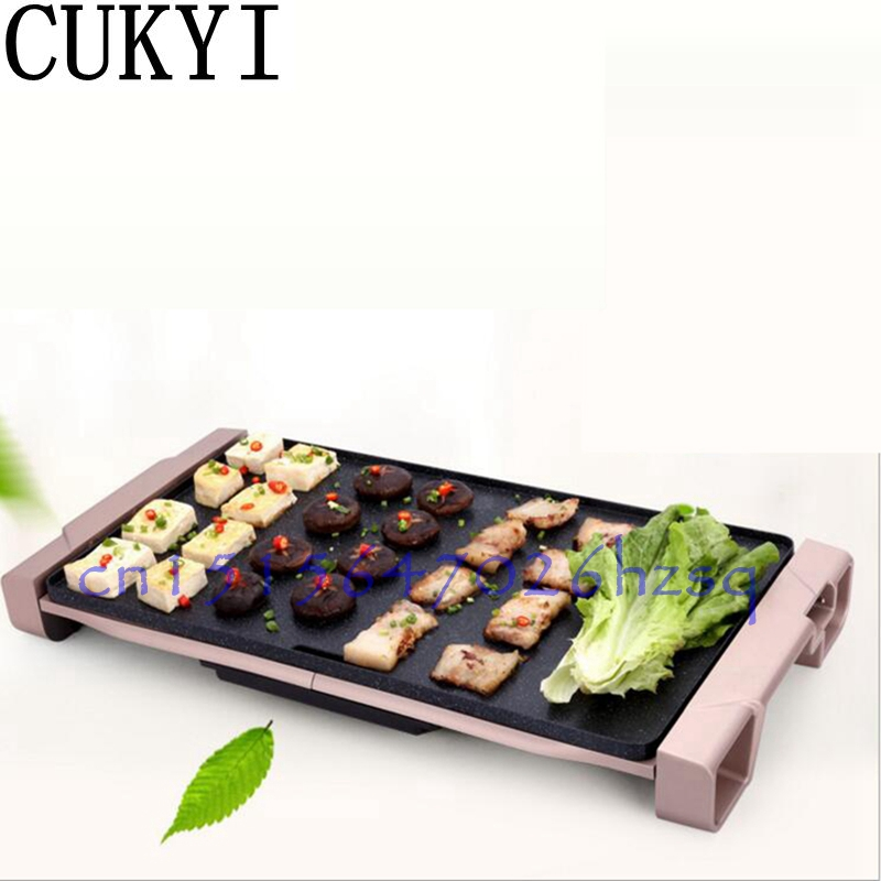CUKYI household Electric Grills & Electric Griddles Barbecue Smokeless Nonstick Medical stone Multifunctional frying pan 1800W cukyi seven ring household electric taolu shaped anti electromagnetic ultra thin desktop light waves