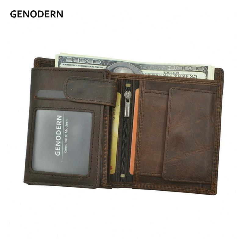 GENODERN Vintage Men Wallets Crazy Horse Leather Wallets for Men Multi Function Men Wallet with Coin Pocket Brown Male Purse