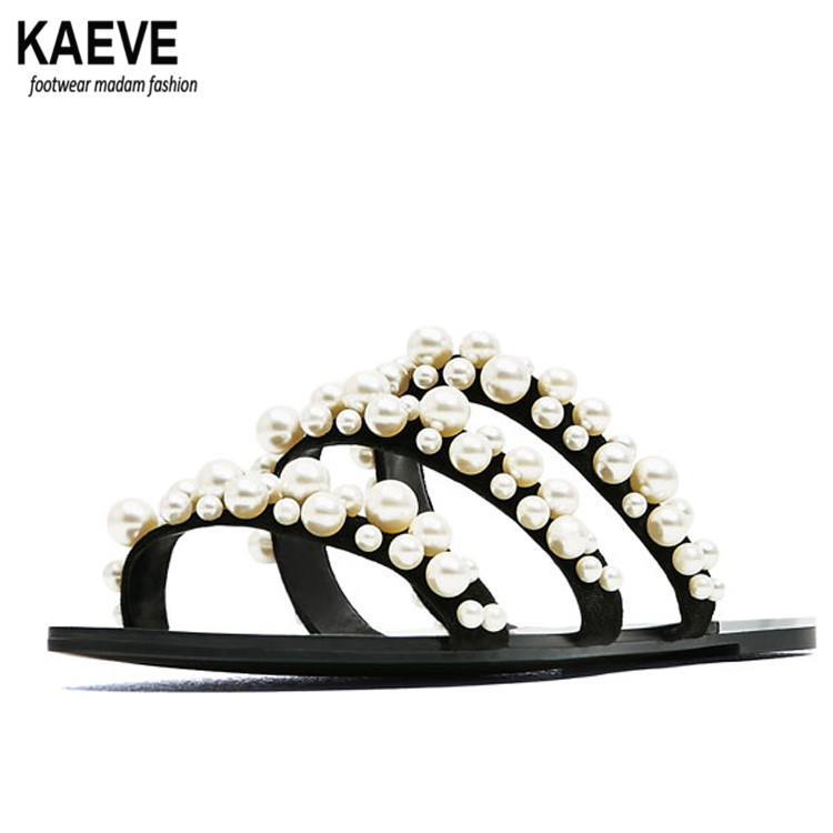 2017 summer beach dresses shoes pearl beads sandals thin belt roman flat women flip flops casual slippers fashion in Women 39 s Sandals from Shoes