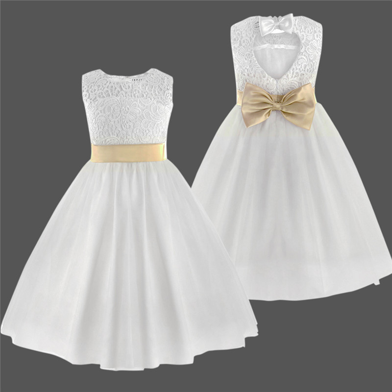 White First Communion Dresses For Girls Tulle Lace Dresses Infant Toddler Pageant Flower Girl Dress for Wedding Party 2-12Year flower girls dress girls pageant dresses infant pageant dress beading glitter first communion dresses for girls 2017 baby