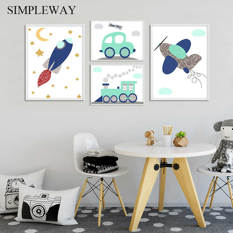 Airplane Vehicle Car Nursery Poster Simple Print Wall Art Canvas Spaceship Picture Painting Nordic Kids Boy Bedroom Decoration