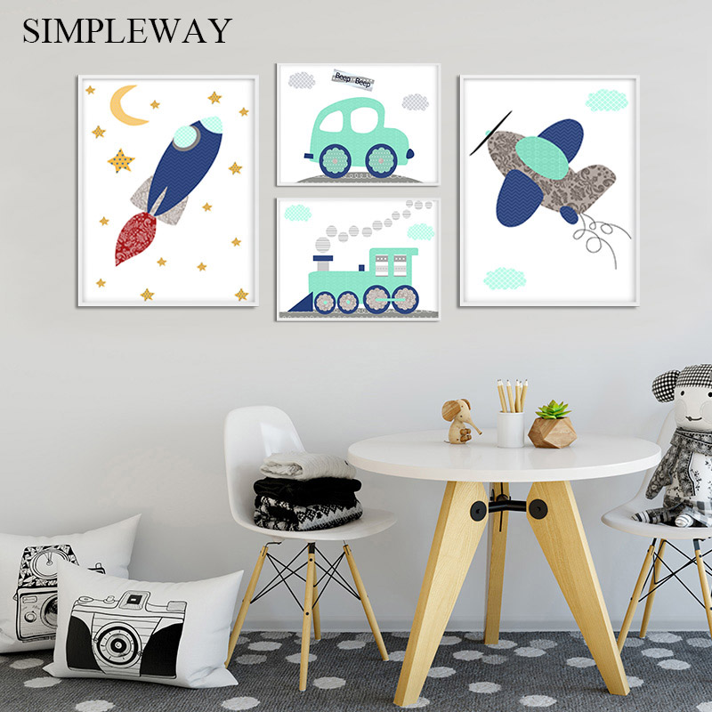 Airplane Vehicle Car Nursery Poster Simple Print Wall Art Canvas Spaceship Picture Painting Nordic Kids Boy Bedroom Decoration image