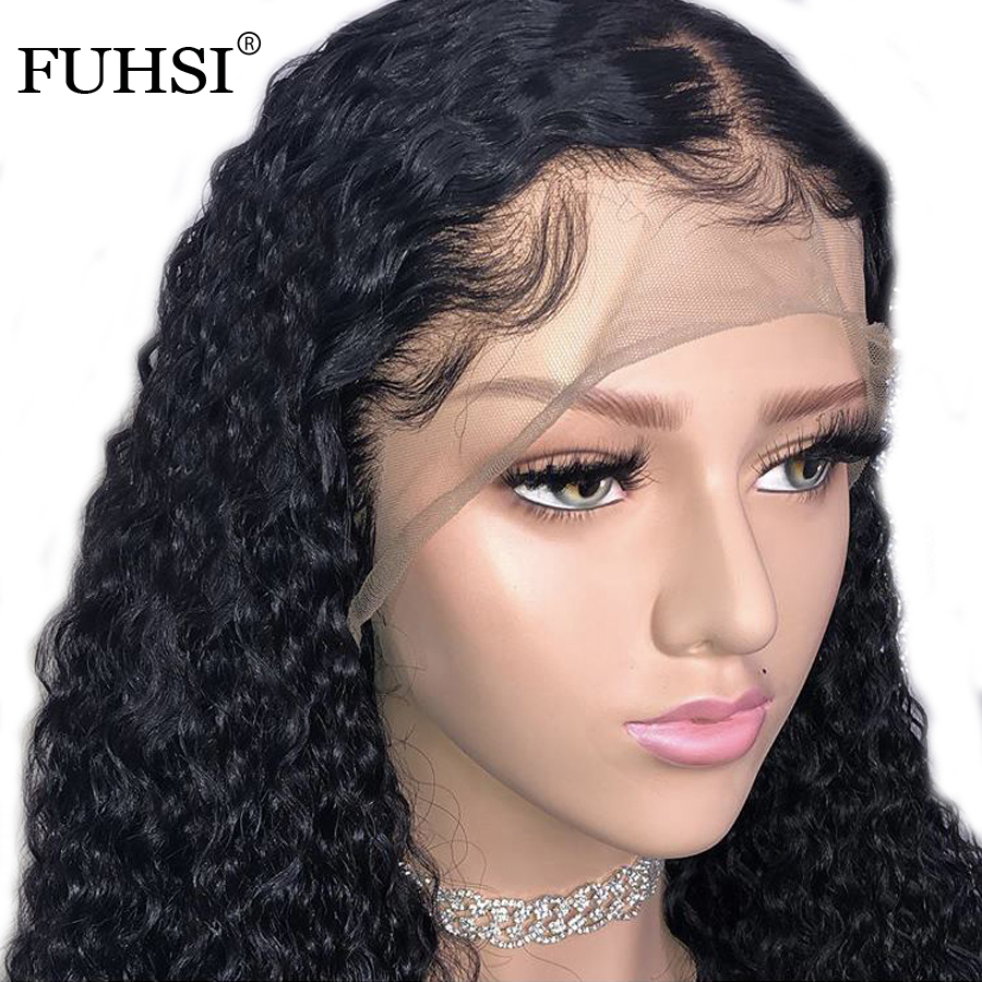 FUHSI 13x6 Curly Lace Front Human Hair Wigs For Women Black Color Brazilian Remy Pre Plucked