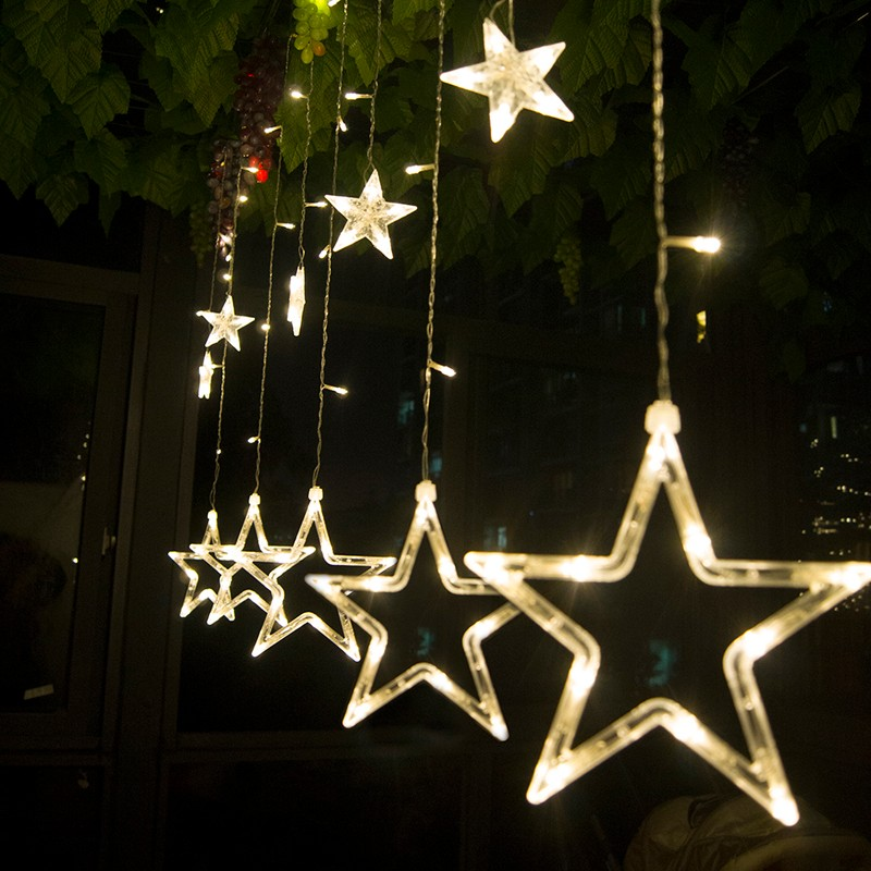 YIYANG 220v Big Stars LED String light Living Room Bedroom Valentines Day KTV Party Decoration Lamps 2.5m 138leds 12 Stars