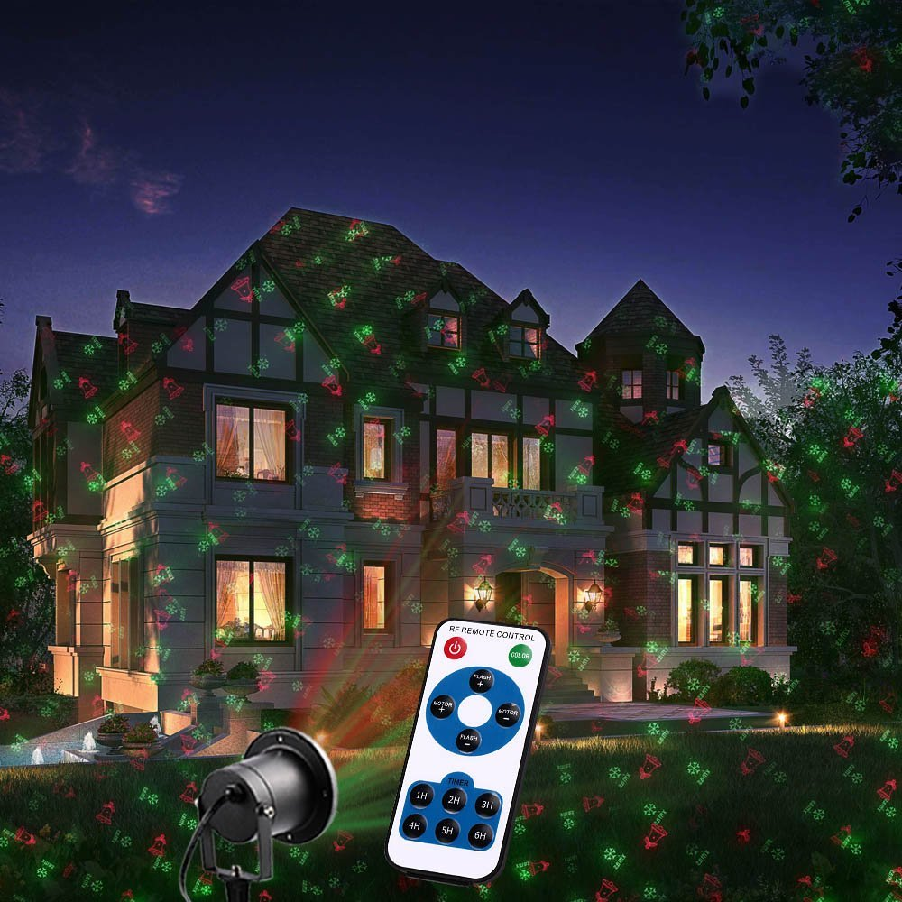 MagicPrime Laser Christmas Lights 8 Patterns Outdoor Star Projector IP65 Waterproof Landscape Light for New Year,home, Garden