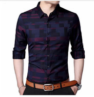 Men S Printed Dress Shirt Cotton Casual Long Sleeve Shirt Regular Fit Button Down Point Collar