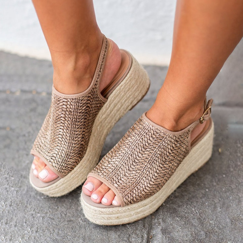 Sandals Ladies Wedges Knitting Buckle-Strap Peep-Toe Casual Summer Women 35-43 Cane Retro