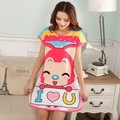 Women Cute Cartoon Sleepwear Loose Nightwear Short Sleeve Sleepshirt
