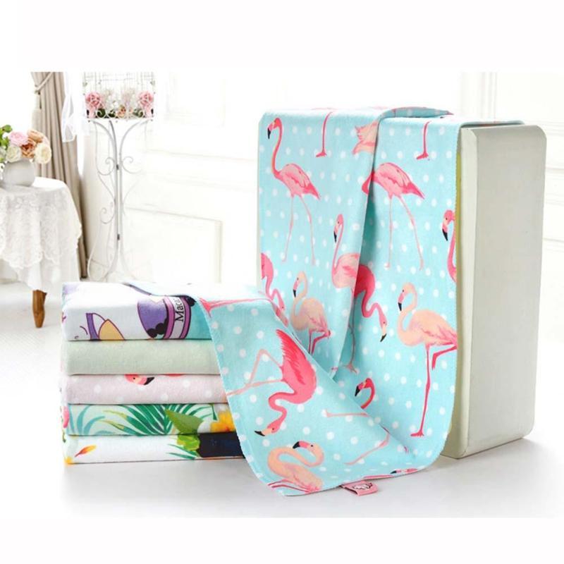 34 70cm Face Towel Cute Pink Flamingo Print Absorbent