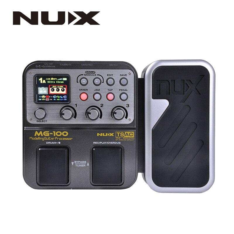 NUX MG-100 моделирующий Гитарный процессор гитарный эффект педаль барабанный тюнер рекордер мульти-функция с гитарным моделирующим процессоро...