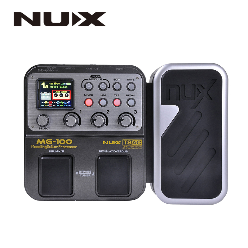 NUX MG-100 Modeling Guitar Processor Guitar Effect Pedal Drum Tuner Recorder Multi-function With Guitar Modeling Processor electric guitar effector multi function guitar composition upgrade stylesound tuner drum machine integrated digital effects