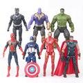 7 unids set 15 cm el vengadores Ironman Hulk capitán americano Spiderman  Thor acción Batman efec20838da