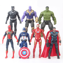7pcs The Avengers Action Figures 15cm Ironman Hulk Captain American Spiderman Thor Collection Toys for Children